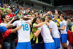 17-10-2015 BUL: Volleyball European Championship Slovenie - Italie, Sofia<br /> Semifinal in Arena Armeec Sofia / Klemen Cebulj #18 of Slovenia, Gregor Ropret #16 of Slovenia, Alen Pajenk #2 of Slovenia, Jan Kozamernik #10 of Slovenia celebrate<br /> Photo: Vid Ponikvar / RHF<br /> +++USE NETHERLANDS ONLY+++