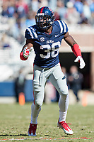 OXFORD, MS - OCTOBER 28:  Marquis Haynes #38 of the Ole Miss Rebels reads the offense during a game against the Arkansas Razorbacks at Hemingway Stadium on October 28, 2017 in Oxford, Mississippi.  The Razorbacks defeated the Rebels 38-37.  (Photo by Wesley Hitt/Getty Images) *** Local Caption *** Marquis Haynes
