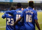 Gillingham's top goal scorer Bradley Dack is joined by teammates to celebrate his goal during the Sky Bet League 1 match between Gillingham and Barnsley at the MEMS Priestfield Stadium, Gillingham, England on 13 February 2016. Photo by Andy Walter.