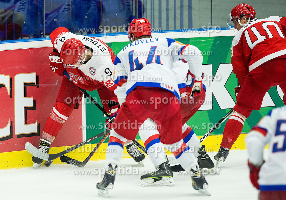 Frederik Storm of Denmark vs Viktor Tikhonov of Russia and Yegor Yakovlev of Russia  during Ice Hockey match between Russia and Denmark at Day 6 in Group B of 2015 IIHF World Championship, on May 6, 2015 in CEZ Arena, Ostrava, Czech Republic. Photo by Vid Ponikvar / Sportida