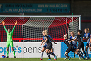 Bethany England (Chelsea) & Ji So-Yun (Chelsea) keen to get to the ball coming in from a corner during the FA Women's Super League match between Brighton and Hove Albion Women and Chelsea at The People's Pension Stadium, Crawley, England on 15 September 2019.