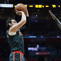 08 January 2018: Atlanta Hawks guard Marco Belinelli (3) takes a jump shot during the LA Clippers 108-107 victory over the Atlanta Hawks, at the Staples Center, Los Angeles, California, USA.
