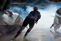 KELOWNA, CANADA - JANUARY 17: Wil Kushniryk #14 of the Kelowna Rockets skates through the dragon as he enters the ice against the Lethbridge Hurricanes on January 17, 2018 at Prospera Place in Kelowna, British Columbia, Canada.  (Photo by Marissa Baecker/Shoot the Breeze)  *** Local Caption ***