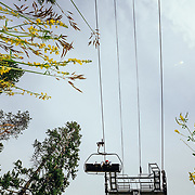 Heather Goodrich rides a chairlift to another lap at Jackson Hole Mountain Resort.