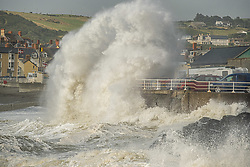 ©Licensed to London News Pictures.<br /> 10/08/2019 Aberystwyth UK. Gale force winds gusting to over 50mph and stormy seas continue batter the harbour and seafront in Aberystwyth as unseasonably wet and windy weather sweeps across much of the west of the UK. Yellow warnings for wind  have been issued by the Met Office, with disruption to travel and the cancellation of many outdoor events. Photo credit Keith Morris/LNP