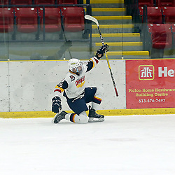 WELLINGTON, ON - JANUARY 25: Dylan Massie #25 of the Wellington Dukes celebrates the goal  in the 2nd  overtime period on January 25, 2019 at Wellington and District Community Centre in Wellington, Ontario, Canada.<br /> (Photo by Ed McPherson / OJHL Images)