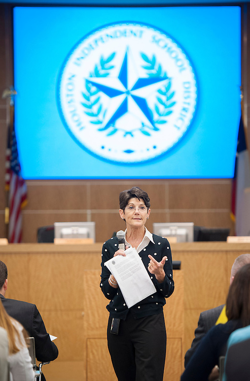 Michele Pola speaks to principals gathered in the Board Auditorium for a meeting at the Hattie Mae White Buliding, April 10, 2013.
