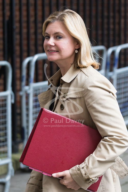 Downing Street, London, October 18th 2016. Education Secretary Justine Greening leaves 10 Downing Street in London following the weekly cabinet meeting.