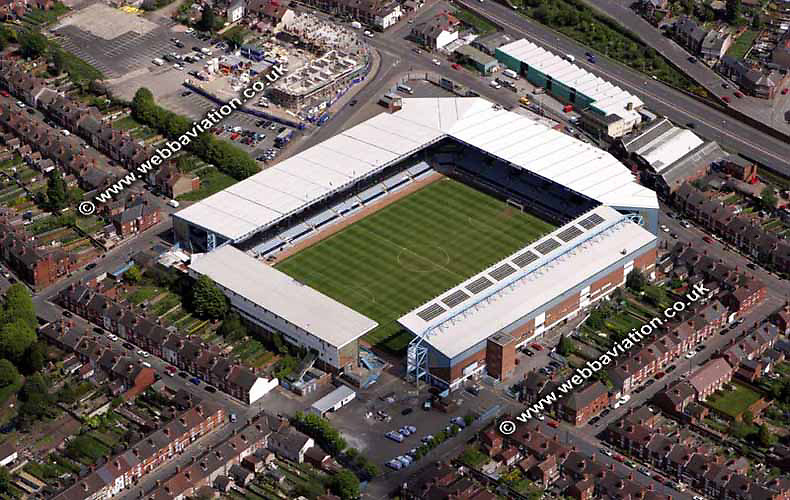 aerial photograph of Highfield Road Football Stadium  Coventry West Midlands England  UK