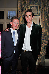Left to right, GUY PELLY and OTIS FERRY at a dinner hosted by Edward Taylor and Alexandra Meyers in association with Johnnie Walker Blue Label held at Mark's Club, 46 Charles Street, London W1 on 26th April 2012.