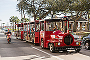 Red Train Trolly tour tram in St. Augustine, Florida. St Augustine is the oldest city in America.