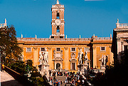 ITALY, ROME Piazza del Campidoglio on Capitoline Hill,  with the Palazzo Senatorio (center) piazza and facades designed by Michelangelo