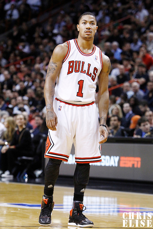 29 January 2012: Chicago Bulls point guard Derrick Rose (1) rests during the Miami Heat 97-93 victory over the Chicago Bulls at the AmericanAirlines Arena, Miami, Florida, USA.