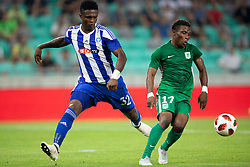 Faith Obilor of HJK Helsinki and Abass Issah of NK Olimpija Ljubljana during 1st Leg football match between NK Olimpija Ljubljana and HJK Helsinki in 3rd Qualifying Round of UEFA Europa League 2018/19, on August 9, 2018 in SRC Stozice, Ljubljana, Slovenia. Photo by Urban Urbanc / Sportida