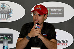 July 20, 2018 - Loudon, NH, U.S. - LOUDON, NH - JULY 20: Joey Logano, driver of the #22 Shell Pennzoil Ford during a press conference before practice for the Monster Energy Cup Series Foxwoods Resort Casino 301 race on July, 20, 2018, at New Hampshire Motor Speedway in Loudon, NH. (Photo by Malcolm Hope/Icon Sportswire) (Credit Image: © Malcolm Hope/Icon SMI via ZUMA Press)