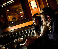 March 22nd 2008. Havana Central, New York, NY. Jewish Costume Purim Party at Havana Central at the West End, 2991 Broadway (113th street). Mali Agami, from Croen Heights, and her friend Tzvib conversating at the party organized by twin brothers Seth and Isaac Galena, from bangitout.com, a jewish humour website.<br /> <br /> Reporter: Bleyer,Jennifer: 917-279-2078<br /> email: bleyer@nytimes.com<br /> ©2008 Gianni Cipriano<br /> cell. +1 646 465 2168 (USA)<br /> cell. +1 328 567 7923 (Italy)<br /> gianni@giannicipriano.com<br /> www.giannicipriano.com