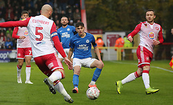 Harrison Burrows of Peterborough United closes down Scott Cuthbert of Stevenage - Mandatory by-line: Joe Dent/JMP - 09/11/2019 - FOOTBALL - Lamex Stadium - Stevenage, England - Stevenage v Peterborough United - Emirates FA Cup first round