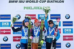 Hanna Oeberg (SWE), Denise Herrmann (GER), Anais Bescond (FRA) at Awards Ceremony after the Women 15 km Individual Competition at day 2 of IBU Biathlon World Cup 2019/20 Pokljuka, on January 23, 2020 in Rudno polje, Pokljuka, Pokljuka, Slovenia. Photo by Peter Podobnik / Sportida