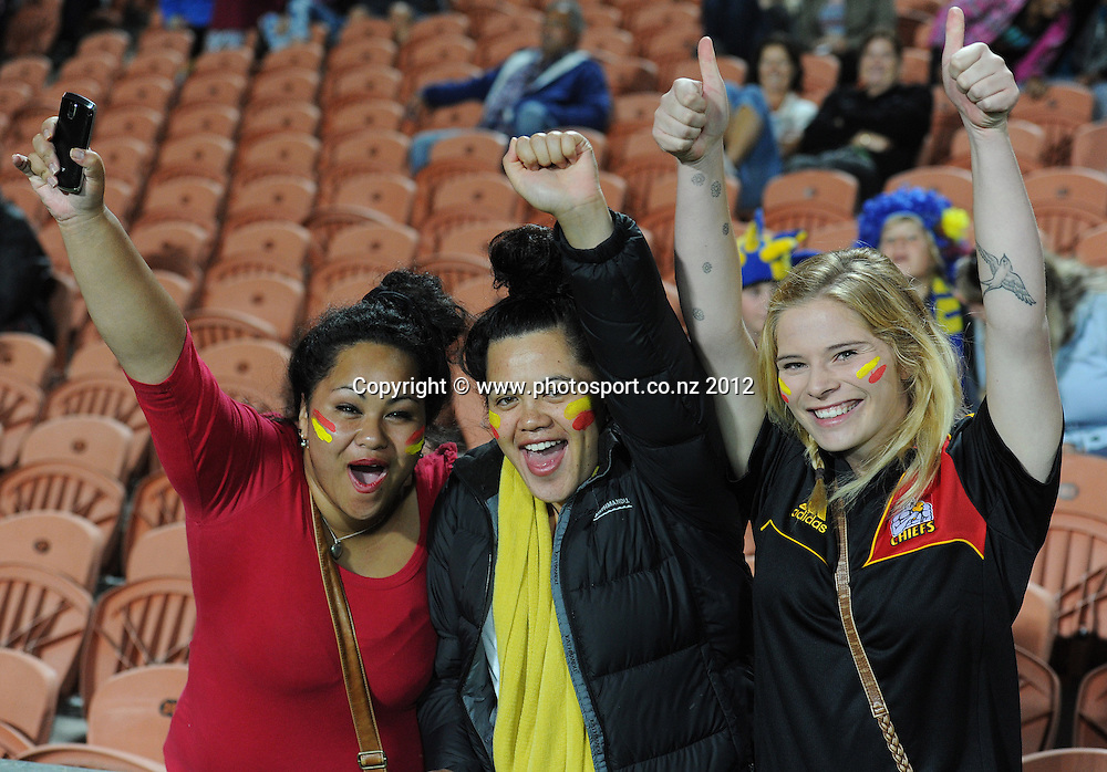 Chiefs fans and supporters during the 2012 Super Rugby season, Chiefs v Highlanders match at Waikato Stadium, New Zealand. Saturday 25 February 2012. Photo: Andrew Cornaga/Photosport.co.nz