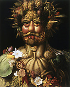 Vertumnus - Rudolf II' (c1590), showing Rudolph II (1552-1612), Holy Roman Emperor from 1576, as Vertumnus, ancient Roman god of seasons who presided over gardens and orchards.  Giuseppe Arcimboldo (c1530-1593) Italian painter. Oil on canvas.