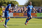 AFC Wimbledon striker Joe Pigott (39) celebrating after scoring goal to make it 2-0 during the EFL Sky Bet League 1 match between AFC Wimbledon and Oxford United at the Cherry Red Records Stadium, Kingston, England on 29 September 2018.