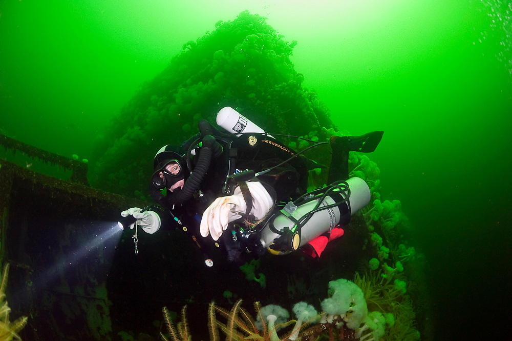 The wreck of the Cape Breton is a popular destination for scuba divers in Nanaimo, Vancouver Island, British Columbia.