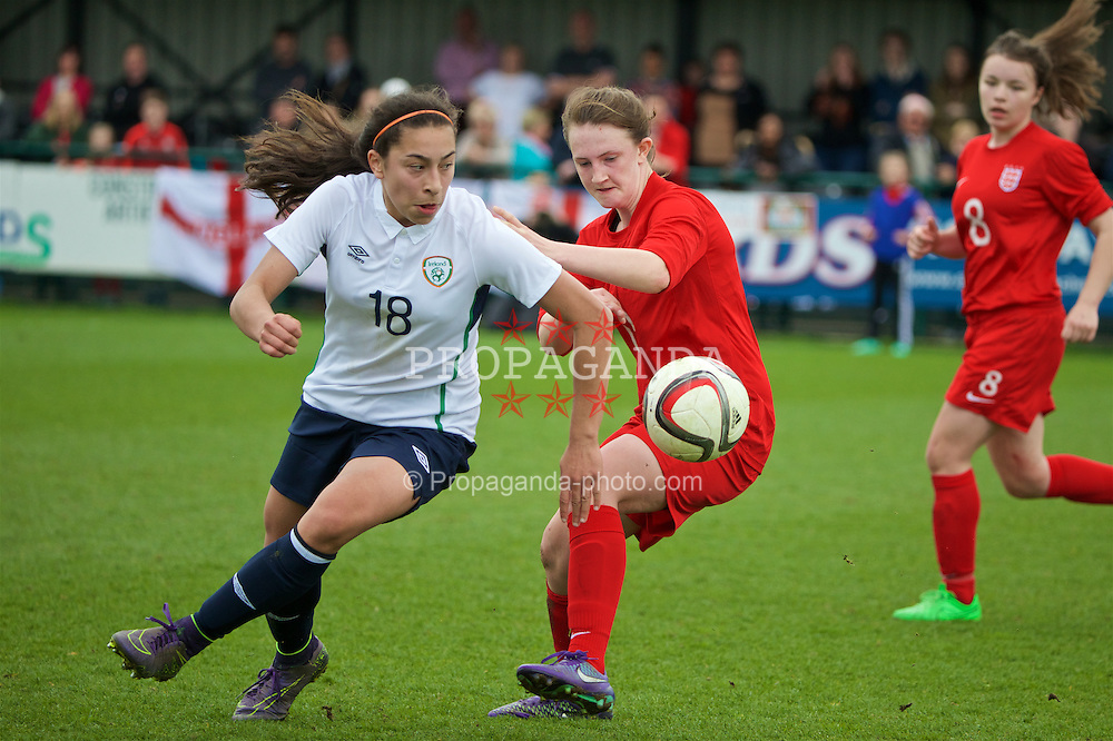 NEWPORT, WALES - Monday, April 4, 2016: Republic of Ireland's Lucia Lobato in action against England during the Final on day four of the Bob Docherty International Tournament 2016 at Dragon Park. (Pic by David Rawcliffe/Propaganda)