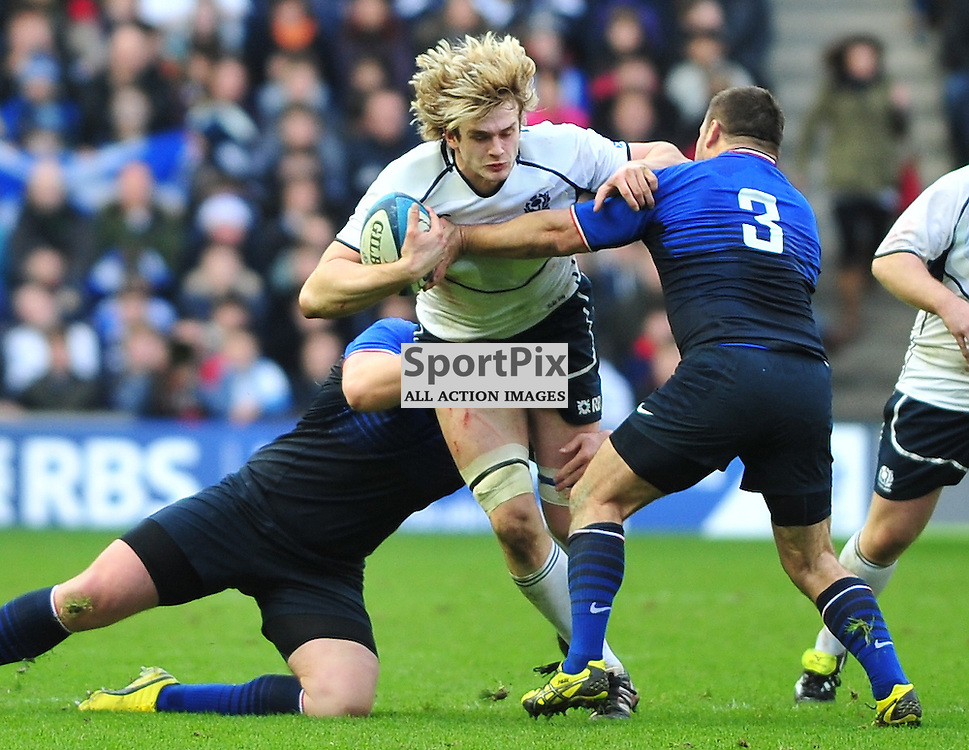 Richie Gray (Scotland, white) bursts through..Scotland v France, RBS 6 Nations Championship, Murrayfield Stadium. 26 February 2012