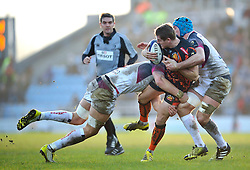 Gareth Steenson of Exeter Chiefs is double-tackled - Mandatory byline: Patrick Khachfe/JMP - 07966 386802 - 24/01/2016 - RUGBY UNION - Sandy Park - Exeter, England - Exeter Chiefs v Ospreys - European Rugby Champions Cup.
