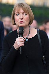 © Licensed to London News Pictures. 17/06/2016. Labour party politician HARRIET HARMAN attends a vigil and two minutes silence with well wishers in Parliament Square in memory of Labour party MP JO COX. She was allegedly attacked and killed by suspect 52 year old Tommy Mair close to Birstall Library near Leeds. London, UK. Photo credit: Ray Tang/LNP