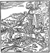 Evaporating pots of brine in a natural hot spring in order to obtain salt. From Agricola 'De re metallica', Basel 1556. Woodcut