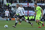 Derby County forward Johnny Russell heads for goal during the Sky Bet Championship match between Derby County and Huddersfield Town at the iPro Stadium, Derby, England on 5 March 2016. Photo by Aaron Lupton.
