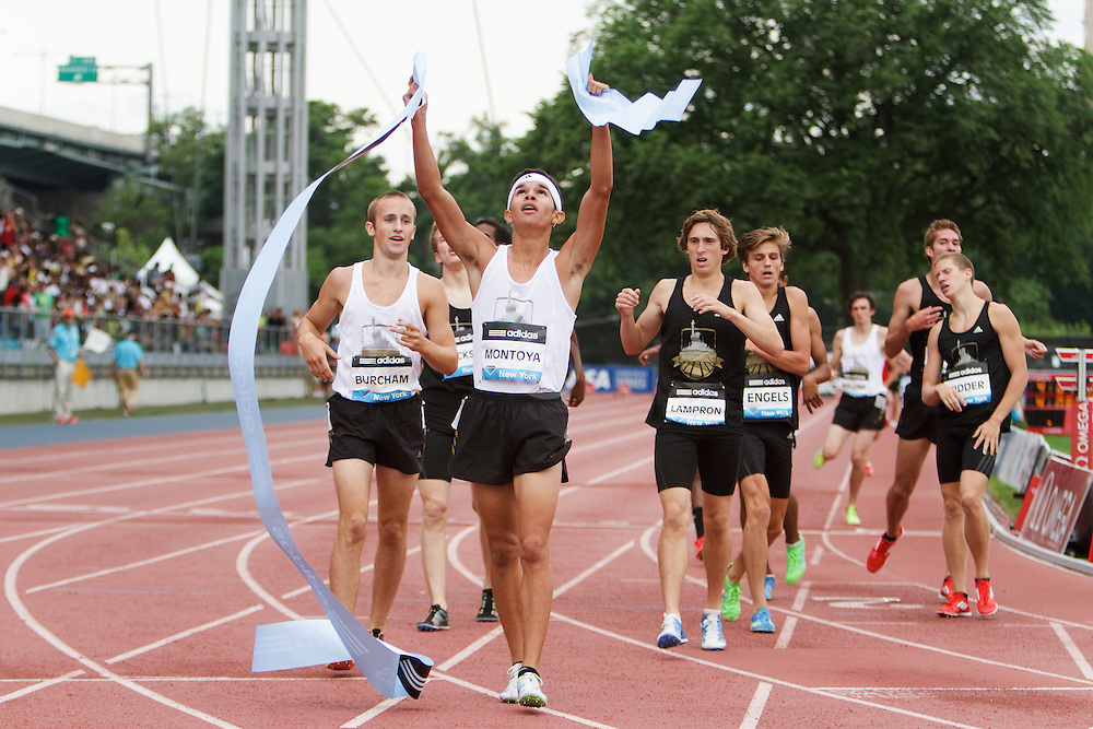 Samsung Diamond League adidas Grand Prix track & field; Dream Mile, Boys, Bernie Montoya, reacts to win,