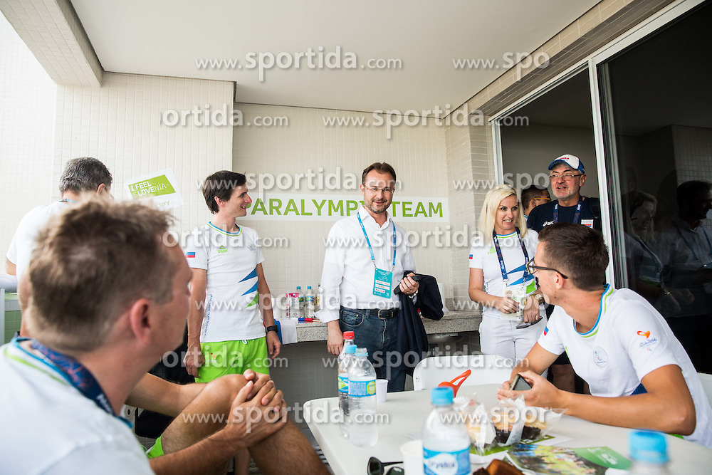Aleksej Dolinsek, Urban Jereb of Slovenia and Veljko Lazic, Serbian ambassador in Brazil in the Paralympic Village 3 days ahead of the Rio 2016 Summer Paralympics Games on September 4, 2016 in Rio de Janeiro, Brazil. Photo by Vid Ponikvar / Sportida