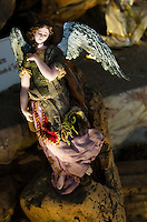 "Baroque-style wax figure of an angel from ""Nacimiento Las Palomas"" exhibit, Oaxaca, Mexico."