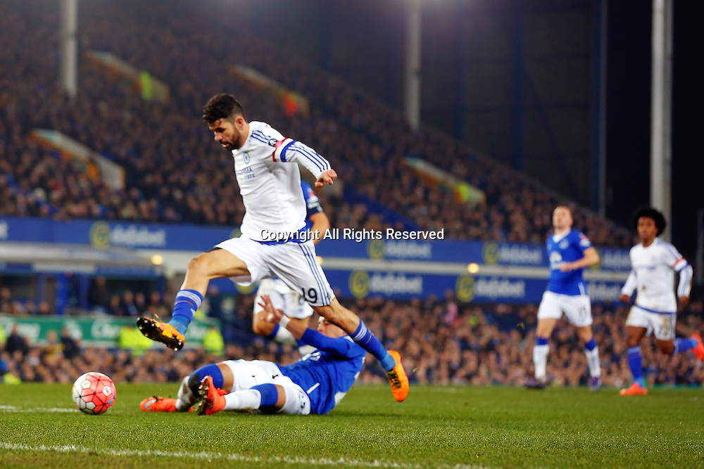 12.03.2016. Goodison Park, Liverpool, England. Emirates FA Cup 6th Round. Everton versus Chelsea. Diego Costa of Chelsea misses an open goal