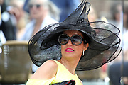 Lady with black hat at the York Dante Meeting at York Racecourse, York, United Kingdom on 18 May 2018. Picture by Mick Atkins.