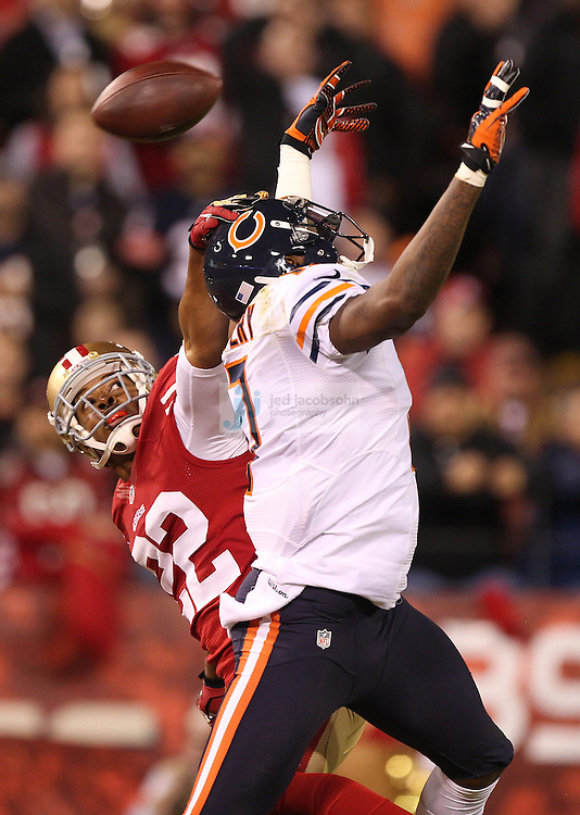 San Francisco 49ers cornerback Carlos Rogers (22) defends against Chicago Bears wide receiver Alshon Jeffery (17), during an NFL game on Monday Nov. 19, 2012 in San Francisco, CA.  (photo by Jed Jacobsohn)