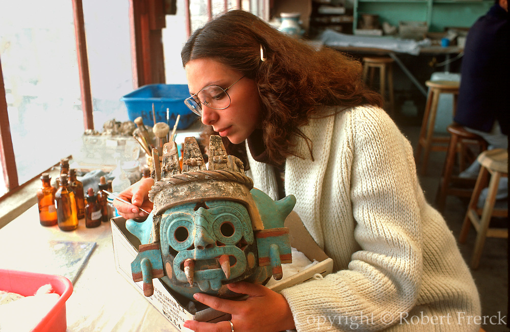 MEXICO, MEXICO CITY, AZTEC Great Temple, Aztec vase being restored