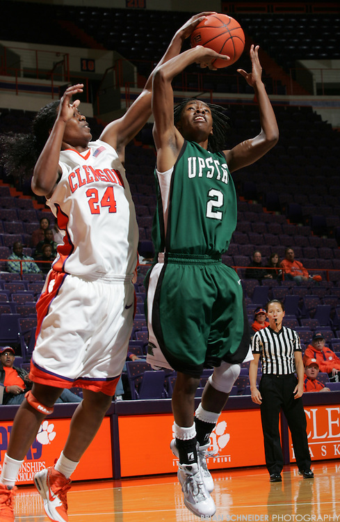 Dec 15, 2009; Clemson, SC, USA; USC-Upstate Spartans guard Shadae Thompson (2) against the Clemson Tigers forward Jasmine Tate (24) during the first half at Littlejohn Coliseum. Mandatory Credit: Brian Schneider-www.ebrianschneider.com