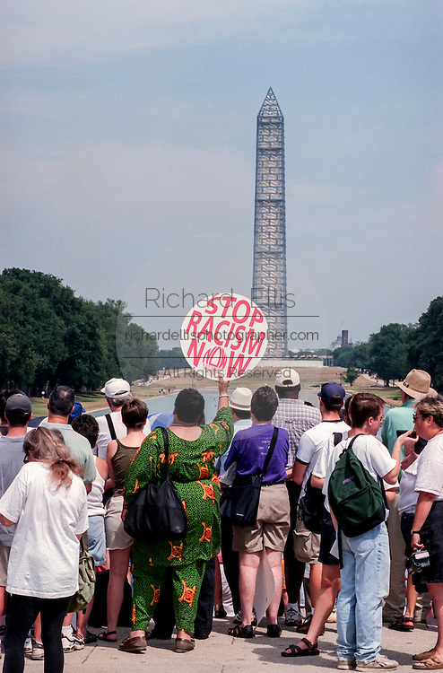 Civil rights Respect Rally in front of the Lincoln Memorial August 7, 1999 in Washington, DC.