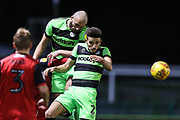 Forest Green Rovers Farrend Rawson(6) and Forest Green Rovers Liam Shephard(2) go to head the ball during the EFL Sky Bet League 2 match between Forest Green Rovers and Grimsby Town FC at the New Lawn, Forest Green, United Kingdom on 22 January 2019.