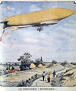 French military airship La Republique on her maiden flight from Paris to Compiegne. From 'Le Petit Journal' Paris, 20 September 1908.