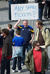LONDON, ENGLAND - Saturday, April 14, 2012: A supporter looking for a spare ticket  outside Wembley Park Underground Station to watch the 218th Merseyside Derby, the FA Cup Semi-Final, at Wembley. (Pic by David Rawcliffe/Propaganda)