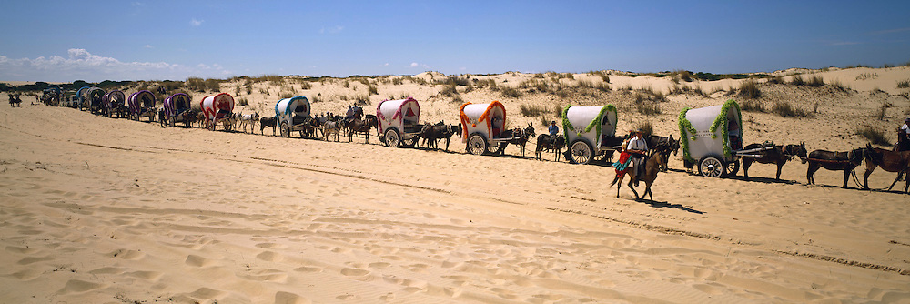 SPAIN, ANDALUSIA, FESTIVALS El Rocio; pilgrimage thru La Donana dunes