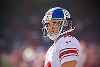 14 october 2012: Quarterback (10) Eli Manning of the New York Giants warms up before the Giants 26-3 victory against the 49ers in an NFL football game at Candlestick Park in San Francisco, CA.