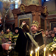Father Tikhon, one of the most senior priests in the Russian Orthodox Church, performing a ceremony at Moscow's Srentenski Monastery. Tikhon is widely known to be the priest of Russian Prime Minister Vladimir Putin.