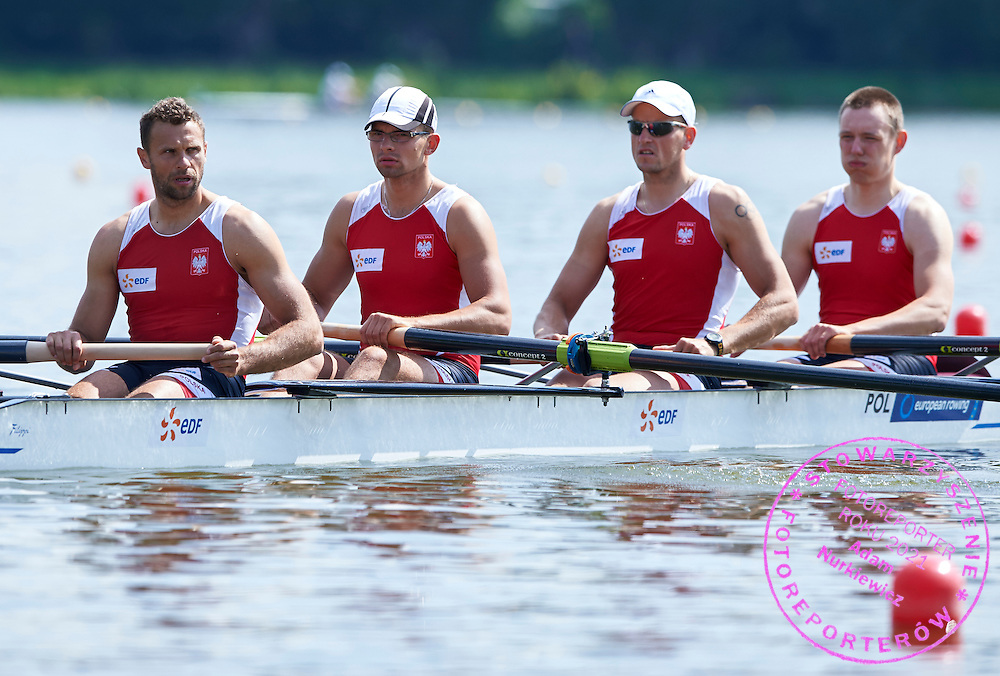 (bow) Dariusz Radosz and (2) Piotr Hojka and (3) Konrad Wojewodzic and (stroke) Rafal Hejmej all from Poland compete at Man&rsquo;s Four (M4-) during first day the 2015 European Rowing Championships on Malta Lake on May 29, 2015 in Poznan, Poland<br /> Poland, Poznan, May 29, 2015<br /> <br /> Picture also available in RAW (NEF) or TIFF format on special request.<br /> <br /> For editorial use only. Any commercial or promotional use requires permission.<br /> <br /> Mandatory credit:<br /> Photo by &copy; Adam Nurkiewicz / Mediasport