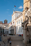 Coimbra Municipality (left) and the Church of Santa Cruz. in the 8 de Maio square Coimbra, Portugal
