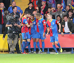 Crystal Palace's Adrian Mariappa scores his sides first goal and celebrates with team mates - Photo mandatory by-line: Robin White/JMP - Tel: Mobile: 07966 386802 21/10/2013 - SPORT - FOOTBALL - Selhurst Park - London - Crystal Palace V Fulham - Barclays Premier League